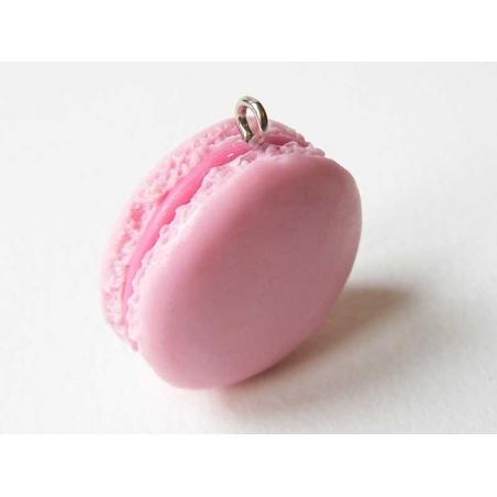 Pendentif macaron - Rose  - 1