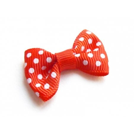 Red bow with polka dots - 3 cm