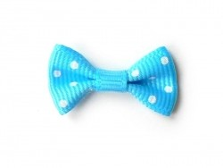 Blue bow with white polka dots - 3 cm