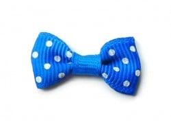 Noeud bleu foncé à pois - 3 cm