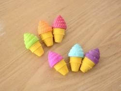 6 ice-cream erasers