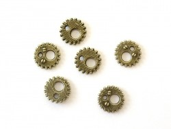 Breloque roue mécanique - coloris bronze