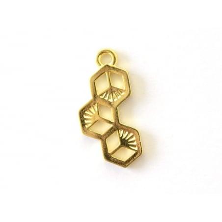 Breloque hexagones doré  - 1