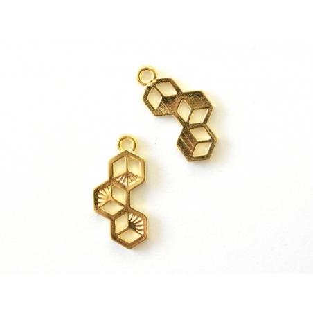 Breloque hexagones doré  - 2