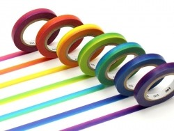 Lot de 7 masking tapes slim arc-en-ciel