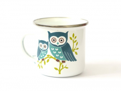 Mug / tasse en émail - chouettes