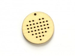 Wooden pendant that can be embroidered - round