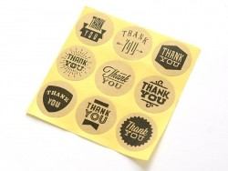9 stickers autocollants - thank you