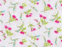 Printed fabric - pink field flowers