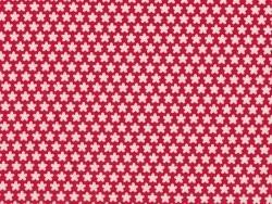 Tissu imprimé rouge à fleurs blanches rétro