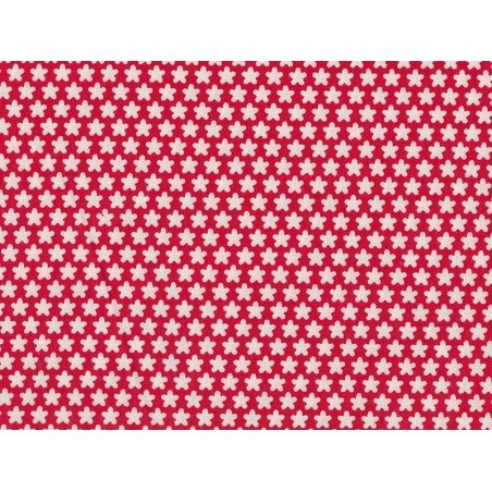 Tissu imprimé rouge à fleurs blanches rétro Rico Design - 1