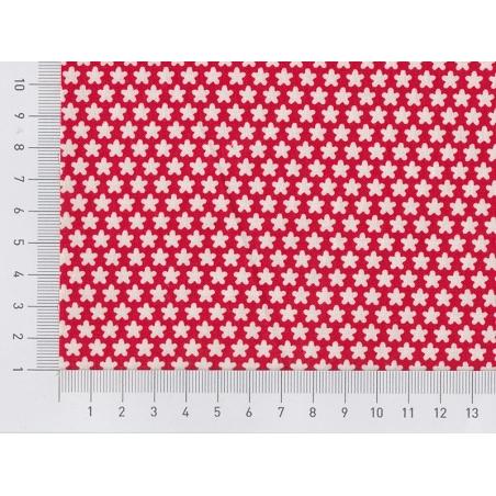 Tissu imprimé rouge à fleurs blanches rétro Rico Design - 2