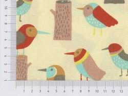 Tissu imprimé - oiseaux rétro