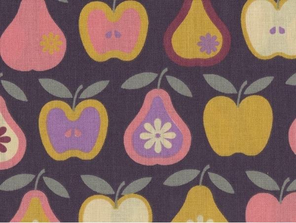 Tissu imprimé - pommes et poires rétro Rico Design - 1