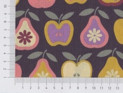Printed fabric - apples and pears (retro style)