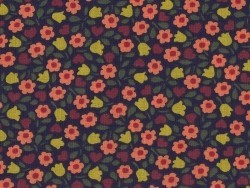 Printed fabric - navy blue with orange flowers (retro style)