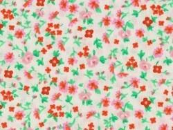 Bedruckter Stoff - weiß mit Blumen