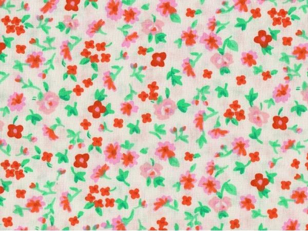 Tissu imprimé blanc à fleurs Rico Design - 1