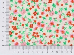 Printed fabric - white with flowers