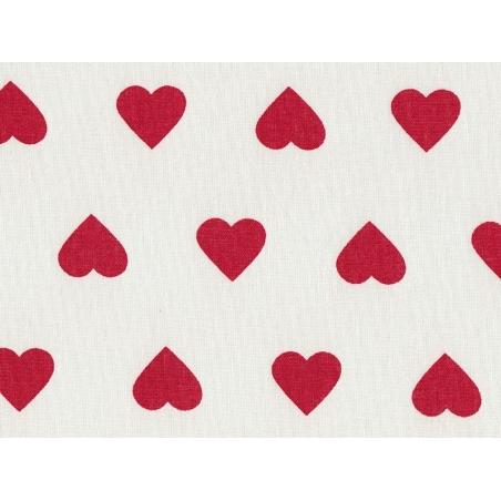 Tissu imprimé blanc à coeurs rouges Rico Design - 1
