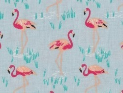 Printed fabric - blue with flamingos