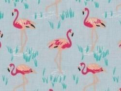 Tissu imprimé bleu à flamants roses Rico Design - 1