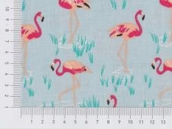 Bedruckter Stoff - blau mit Flamingos