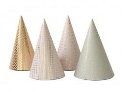 8 Chapeaux de fête - rose/doré