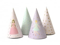 8 party hats - pink/gold-coloured