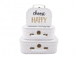 Set of 3 suitcases - messages and polka dots
