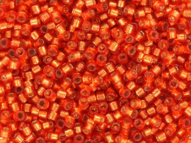Miyuki Delicas 11/0 - orange clémentine à inclusion argentée 2158 Miyuki - 1