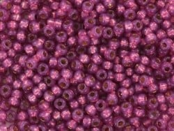 Miyuki seed beads/rocaille beads 11/0 - silverlined dyed duracoat peony pink (colour no. 4247)