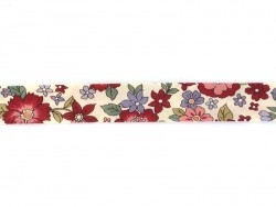 1 m of folded bias binding (20 mm) with a floral pattern - Lucie (colour no. 13)