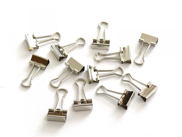 12 pinces clip argentées 19 mm