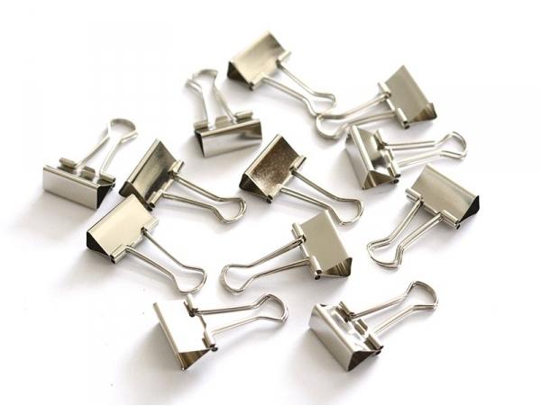 12 silver-coloured foldback clips - 25 mm