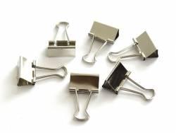 6 silver-coloured foldback clips - 32 mm