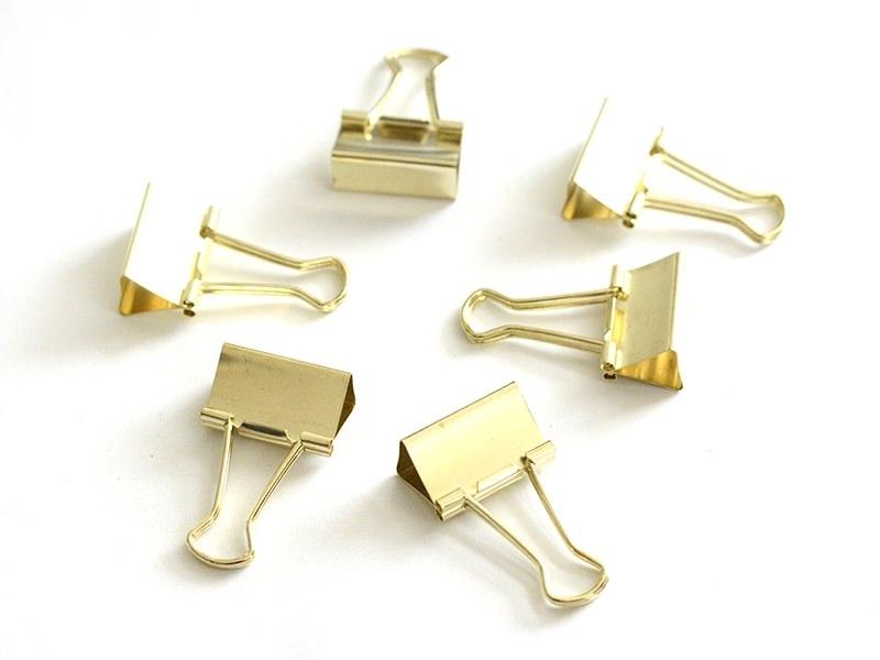 6 gold-coloured foldback clips - 32 mm