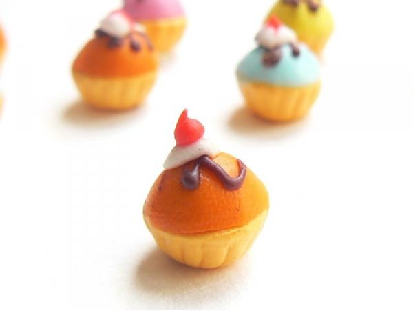 1 cupcake miniature coloré - orange  - 1