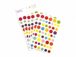 Stickers fantaisies - gommettes rondes multicolores