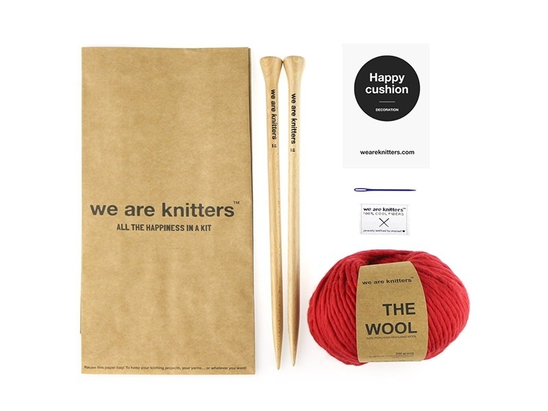 Kit tricot facile - Happy Cushion We are knitters - 1