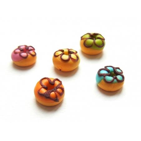 5 miniature doughnuts in assorted colours