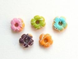 5 donuts miniatures couleurs assorties - fleurs  - 1