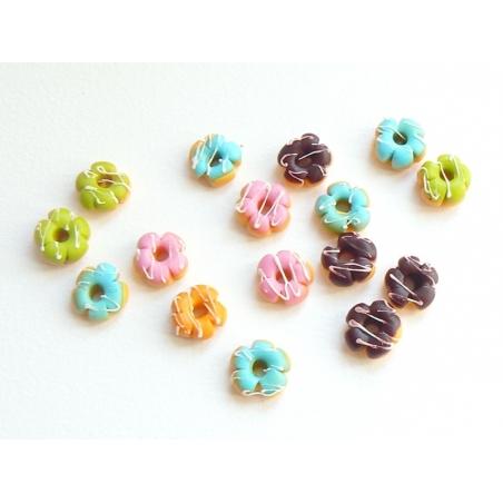 5 donuts miniatures couleurs assorties - fleurs  - 2
