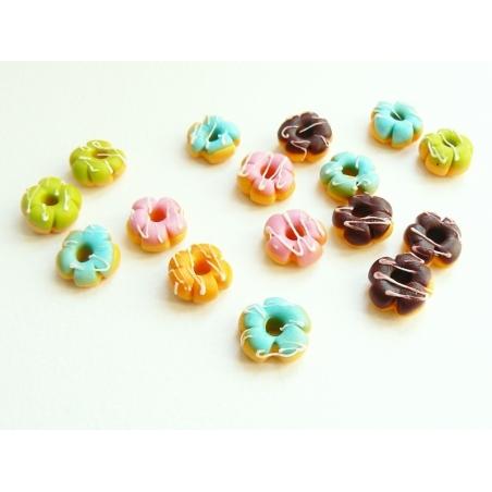 5 miniature flower doughnuts - assorted colours
