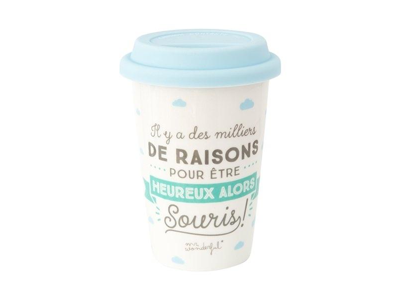"""Acheter Mug à emporter """"Il y a des milliers de raisons pour être heureux alors souris"""" - 19,99€ en ligne sur La Petite Epice..."""