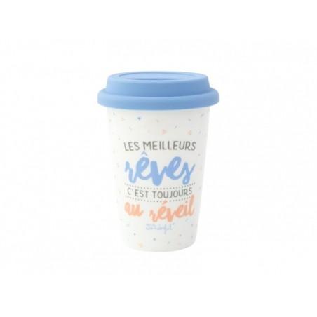 """Acheter Mug à emporter """"Les meilleurs rêves c'est toujours au réveil"""" - 19,99€ en ligne sur La Petite Epicerie - 100% Loisir..."""
