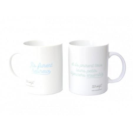 """Acheter Pack de 2 mugs """"Ils furent heureux et ils prirent ensemble tous leurs petits déjeuners"""" - 29,99€ en ligne sur La Pet..."""
