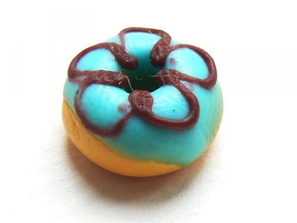1 donut rond miniature - bleu  - 1