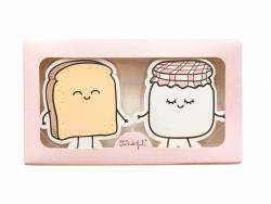 Zwei Radiergummis - Toast und Marmelade