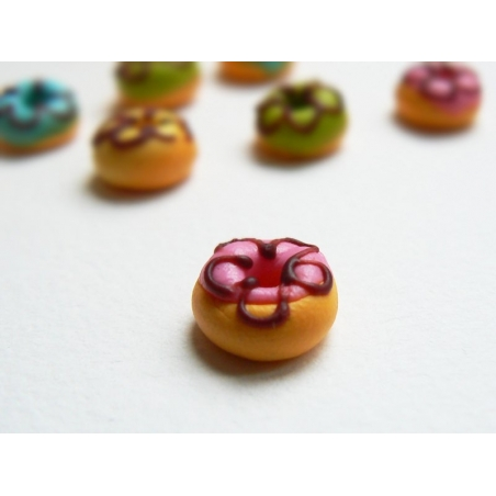 1 donut rond miniature - rose  - 2